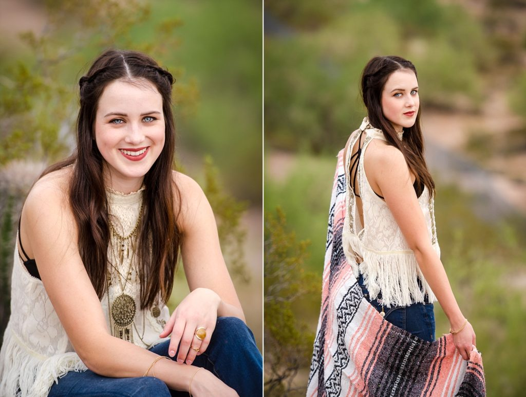 Tribal blanket is the perfect accessory for a senior session